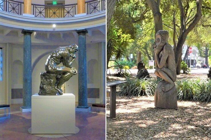 Мыслитель Родена и Мыслитель из Сада скульптур Новой Гвинеи